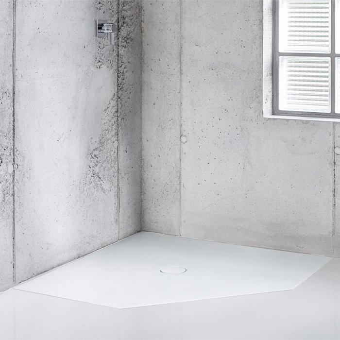 BETTE Floor Caro Душевой поддон 90х90 см, пятиугольный, D90 мм, с шумоизоляцией, цвет: белый