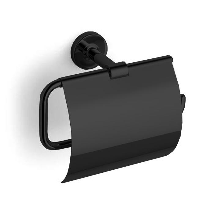 Bertocci Cinquecento Держатель для туалетной бумаги с крышкой, цвет: черный матовый