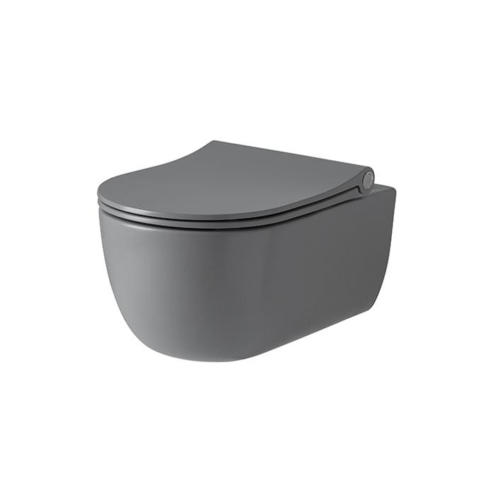 Noken Acro Compact Унитаз подвесной 54x35см, сиденье с микролифтом, цвет: серый матовый