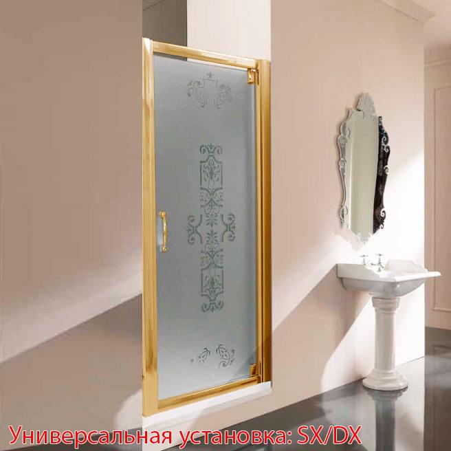 SAMO VC Душевая дверь распашная, профиль и ручка золото, матовое стекло с декором LIBERTY с покрытием star clean, (86-94)x1900мм