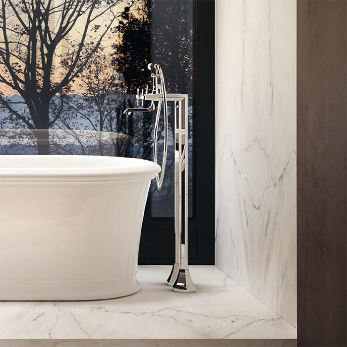 CISAL Cherie Напольный смеситель двухвентильный для ванны с ручной лейкой, держателем и шлангом 150 см, цвет хром/черный матовый