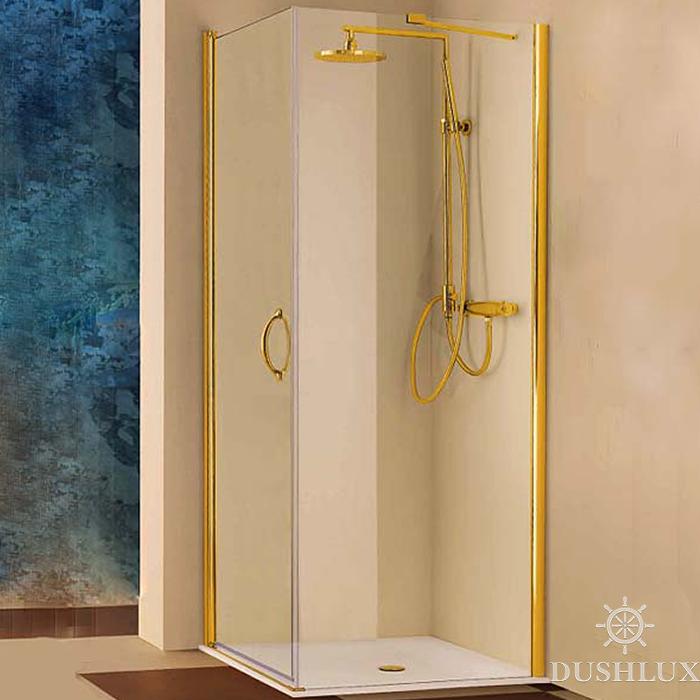 SAMO FDT Душевая дверь 86-88хh190 (монтируется с аналогичной дверью или боков стеной), проф. золото, прозрачное стекло, ручка золото