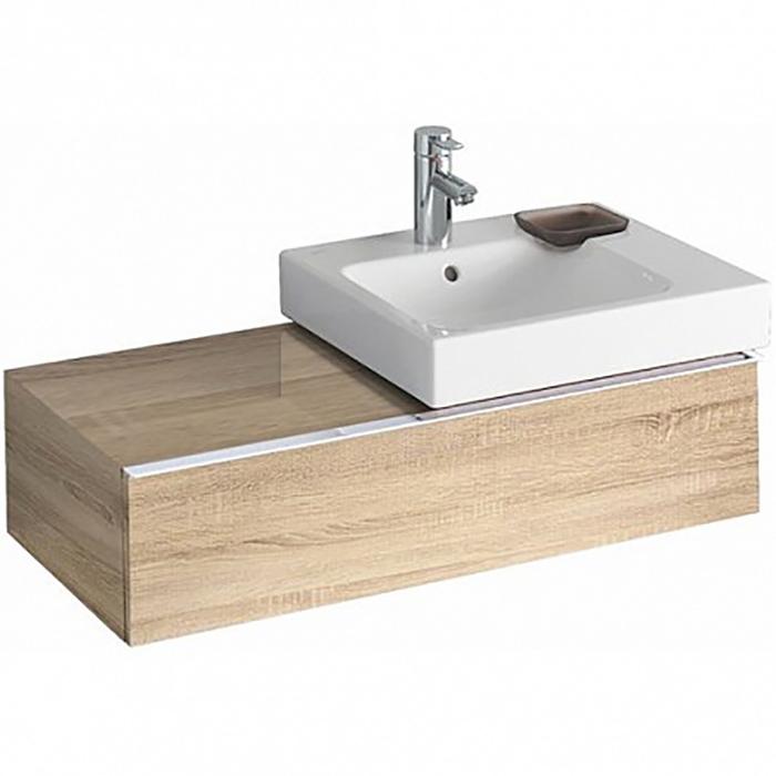 Geberit iCon Тумба с раковиной 89х24х47.7см, с 1 отв., подвесная, с одним выдвижным ящиком и полкой, цвет: натуральный дуб/меламин