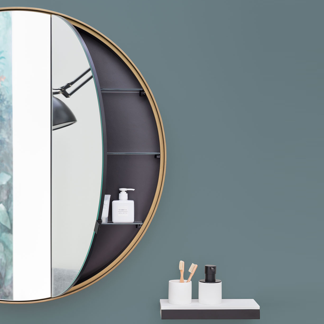 "г. Москва: Cielo Round Box 90 - зеркальный шкафчик в отделке ""bronzo spazzolato"""