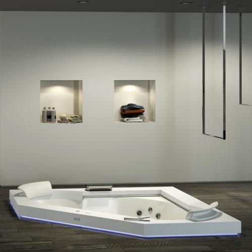 Jacuzzi Aura Corner 160 CORIAN Ванна 160x160x60 см гидромассажная R+C встраиваемая, смеситель Aura цвет белый-хром, рамка из Corian