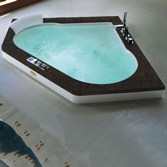 Jacuzzi Aura Corner 160 Top Ванна 160х160хh60 см гидромассажная R + C угловая, смеситель Aura цвет белый-хром Топ - Черный гранит