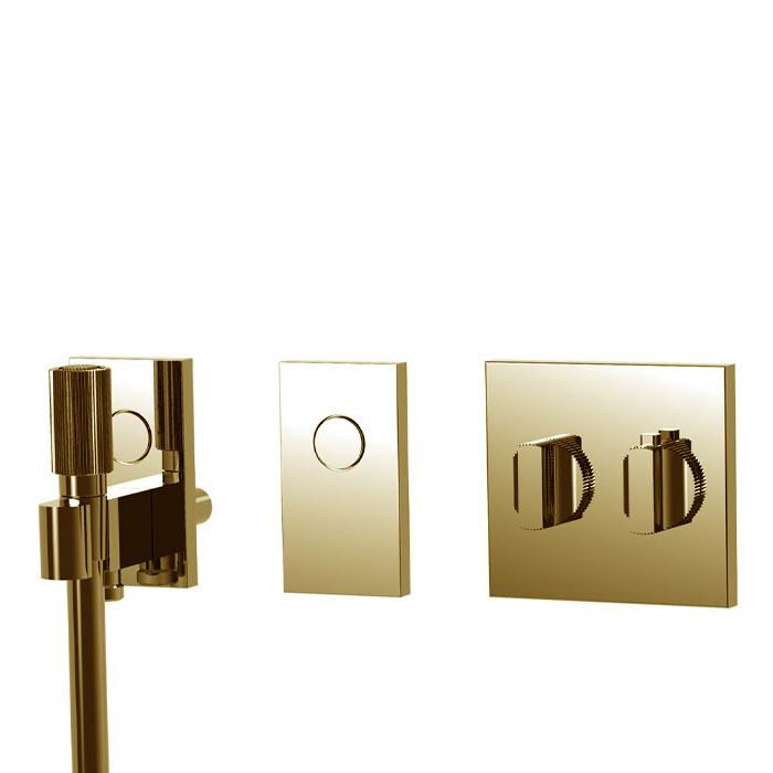 Carlo Frattini Switch Смеситель для душа встраиваемый, термостатический, на 2 положен, ручной душ и черный шланг 1500мм, внешн часть, цвет: золото