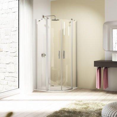 Huppe Design 1/4 круга, двустворчатая распашная дверь с неподвижными сегментами