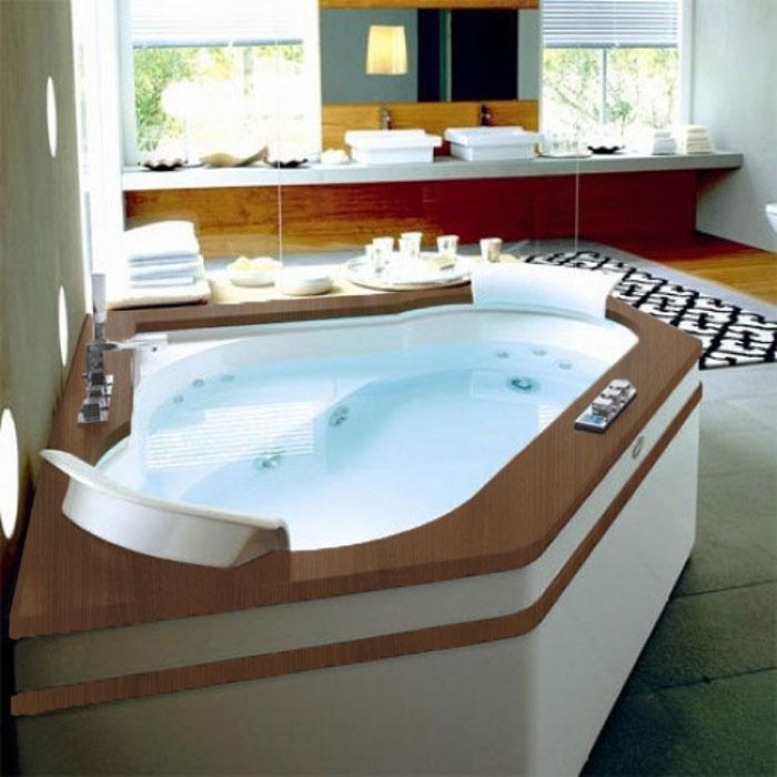 Jacuzzi Aura Corner 160 Top Ванна 160х160хh60 см гидромассажная R+C угловая, , смеситель Aura цвет белый-хром. Топ - Тик, Панель - Акрил