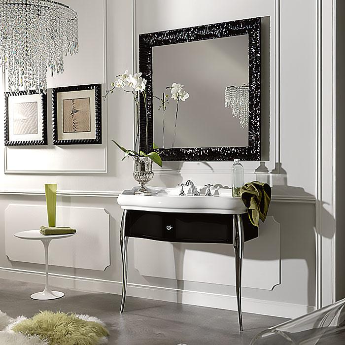 KERASAN Retro Комплект мебели, ножки: хром, ручки: кристалл/кольцо-хром, 100см, Цвет: черный глянец