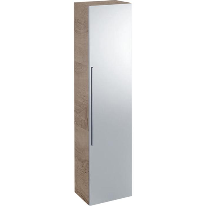 Geberit iCon Высокий пенал с одной дверью и наружным зеркалом 36х150х31.7см, натуральный дуб/меламин