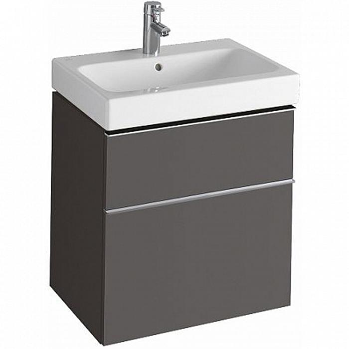 Geberit iCon Тумба с раковиной 59.5х62х47.7см, с 1 отв., подвесная, с двумя выдвижными ящиками цвет: темно-серый/матовое покрытие