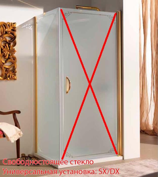 SAMO FDT Боковая стенка 85,5-88хh187,5 см, проф. золото, матовое стекло+декор TREVI