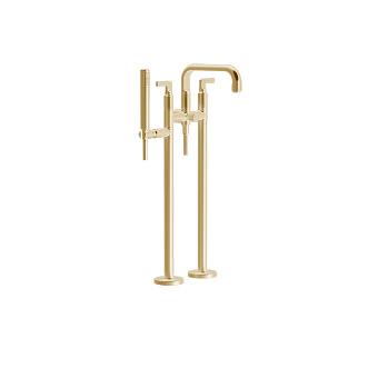 Gessi Inciso Смеситель для ванны, напольный, с ручным душем, цвет: золото