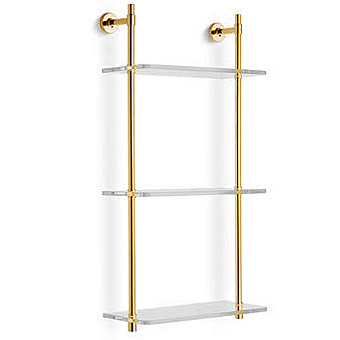 Bertocci Cinquecento Стеллаж с 3 стеклянными полками 30х62 см, цвет: золото