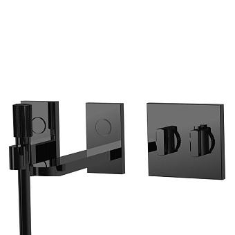 Carlo Frattini Switch Смеситель для ванны встраиваемый, термост, излив 208 мм, ручной душ и черный шланг 1500мм, внешн часть, цвет: черный матовый