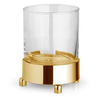 Bertocci Cinquecento Стакан настольный, цвет: прозрачное стекло/золото
