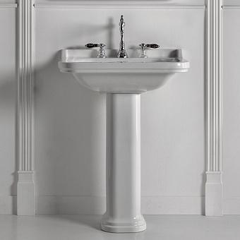 Kerasan Waldorf Раковина керамическая 80х55см с пьедесталом, 3 отв, цвет: белый / хром