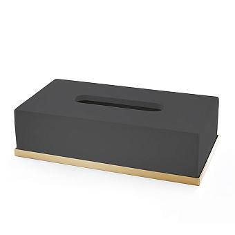 3SC Mood Deluxe Контейнер для бумажных салфеток, 24,5х13хh7 см, настольный, цвет: чёрный матовый/золото 24к. Lucido