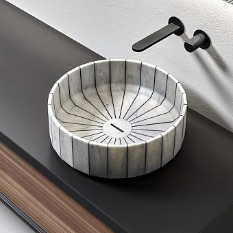 Antonio Lupi Fonte Раковина 45х15 см, для установки на столешницу, в комплекте с донным клапаном, цвет: мрамор Carrara