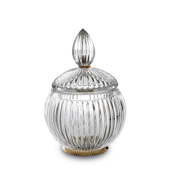 3SC Elegance Баночка универсальная, D=12/h18 см, с крышкой, настольная, цвет: прозрачный хрусталь/золото 24к. opaco