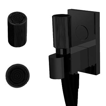 Carlo Frattini Switch Ручной душ с держателем с подводом воды и черным шлангом 1500мм, с кнопкой открытия/закр воды, внешн часть, цвет: черный матовый