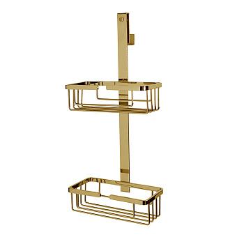 3SC APPY Полочка-корзинка двойная 25х12хh57см, подвесная на стекло, цвет: золото 24к. Lucido