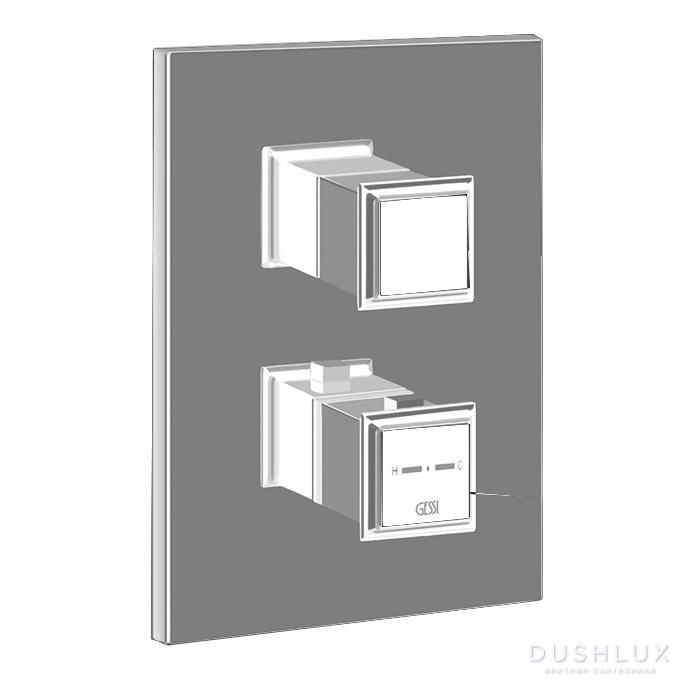 """Gessi Eleganza Встраиваемый термостат, подключение на 3/4"""", с переключателем на 2 выхода и фильтрами, цвет: Finox"""