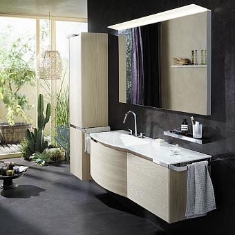 Burgbad Yso Комплект подвесной мебели 158x49x45 см, с круглым керамическим умывальником. раковина слева,  цвет аутентичный дуб
