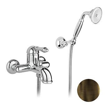 Nicolazzi El Capitan Смеситель для ванны однорычажный, настенный, с ручным душем, цвет: тёмная бронза