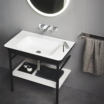Agape Novecento XL Раковина на стальной базе 90x55x13 см, без отв., цвет: матовый белый/темный серый