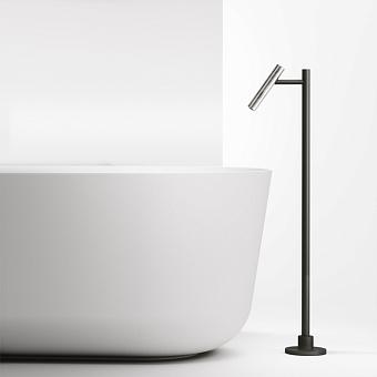 Falper Cilindro Излив для ванны, напольный, цвет: нержавеющая сталь/черный