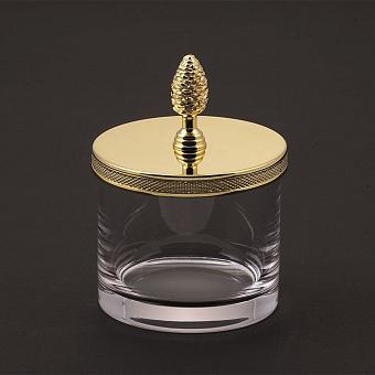 Cristal et Bronze Prestige Баночка из прозрачного стекла с крышкой, цвет: золото