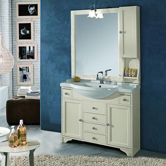 EBAN Eleonora Комплект мебели, с раковиной, зеркалом со шкафчиком справа и светильником, ручки хром, 105см, цвет: Pergamon