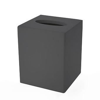 3SC Mood Black Контейнер для бумажных салфеток, 12х12х14 см, квадратный, настольный,  композит Solid Surface, цвет: чёрный матовый