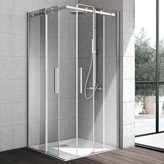 Hafro Flow Душевое ограждение с 2мя раздвижными дверцами 120х120х200h см DX, прозрачное стекло/серебро
