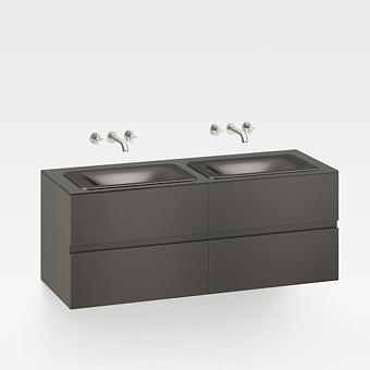 Armani Roca Baia Тумба подвесная с 2 раковинами, 155.4х59х61см с 4 ящиками, со столешницей, цвет: черный