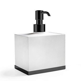 3SC Snowy Дозатор для жидкого мыла, настольный, цвет: белая эко-кожа/черный матовый