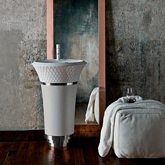 Falper George Раковина напольная 58х58х87 см, выпуск в стену, цвет: White faux leather