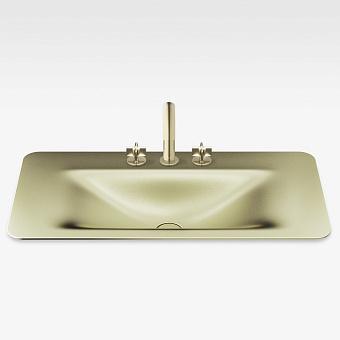 Armani Roca Baia Раковина 90x47 см, 3 отв., встраиваемая сверху, со скр. переливом, цвет: shagreen matt gold