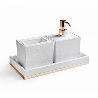 3SC Snowy Комплект: стакан, дозатор, лоток, цвет: белая эко-кожа/золото 24к. Lucido