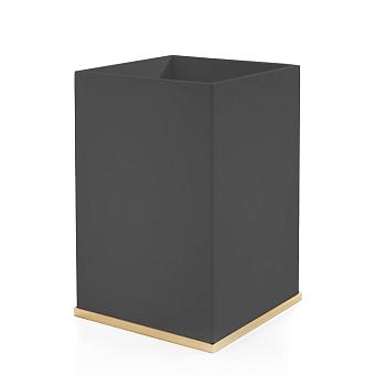 3SC Mood Deluxe Black Ведро, без крышки, 20х30х20 см, композит Solid Surface, цвет: чёрный матовый/золото 24к.