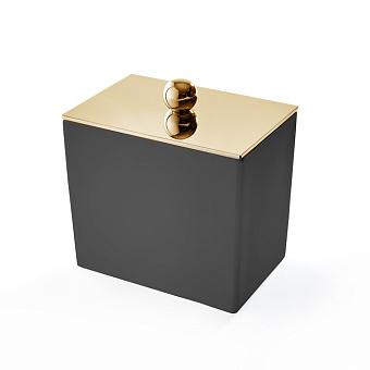 3SC Mood Black Баночка универсальная, 10х10х7 см, с крышкой, настольная,  композит Solid Surface, цвет: чёрный матовый/золото 24к.