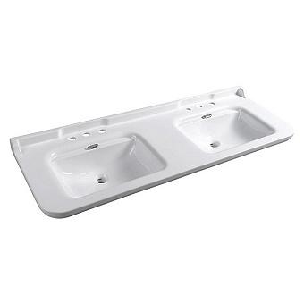 Kerasan Waldorf Раковина 150х55 см, 3 отв., керамическая, двойная, цвет: белый/хром