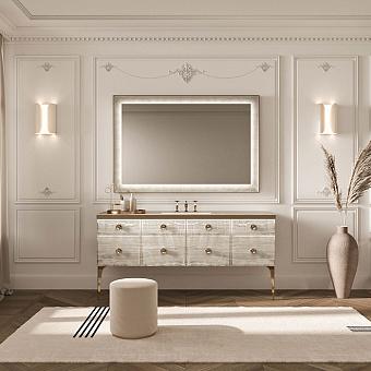 VITAGE milldue edition MAJESTIC 10 Комплект мебели 180х55х82 см, напольный, раковина, зеркало, с подсветкой, отделка: стекло alabastro gold, фурнитура: бронза