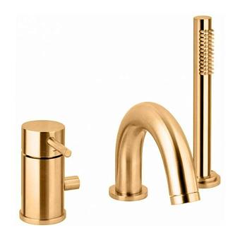 Paffoni Light Смеситель для ванны, на 3 отв., с ручным душем, с комплеком подключений, цвет: золото медовое