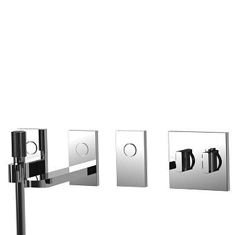 Carlo Frattini Switch Смеситель для душа встраиваемый, термостатический, на 3 положения, ручной душ и черный шланг 1500мм, внешн часть, цвет: хром
