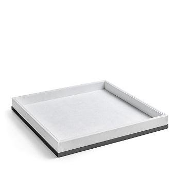 3SC Snowy Лоток универсальный 28х28хh4см, цвет: белая эко-кожа/черный матовый