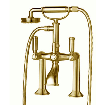 Bossini Liberty Смеситель на борт ванной на 2 отв. с переключателем, лейка Liberty, шланг из латуни 150 см, цвет: золото