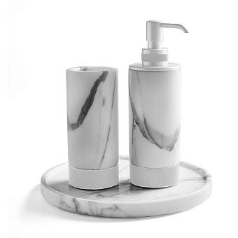 3SC Apuana 2.0 Комплект: стакан, дозатор и лоток, цвет: мрамор Bianco Statuario/белый матовый